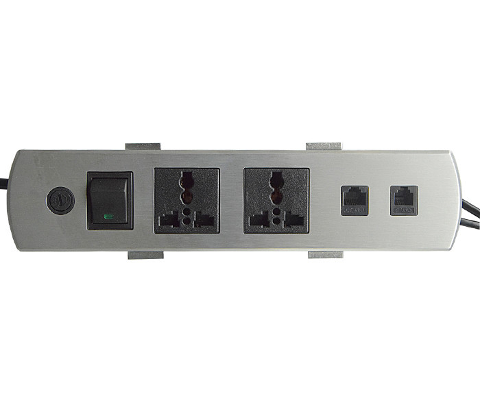 Aluminum Alloy Panel Multimedia Table Socket / Screen Desktop 2 Universal Power Data RJ45 Sockets